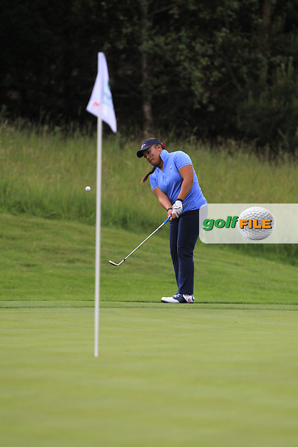 Mariel Galdiano on the 3rd during the Friday morning Foursomes of the 2016 Curtis Cup at Dun Laoghaire Golf Club on Friday 10th June 2016.<br /> Picture:  Golffile | Thos Caffrey