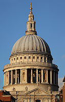St Paul's Cathedral, 1675 - 1710, architect Sir Christopher Wren : detail of the dome, one of the largest dome in the world, 111 metres high, London, England, UK. Picture by Manuel Cohen