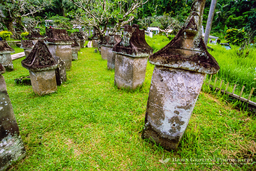 Indonesia, Sulawesi, Sawangan. A collection of stone sarcophagi, called waruga.The oldest may date back as far as 900AD. The Waruga consist of two distinct parts; the square or rectangular base, and a rooflike lid with carved scenes depicting the life, and sometimes death of the occupant.