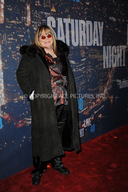 WWW.ACEPIXS.COM<br /> February 15, 2015 New York City<br /> <br /> Penny Marshall walking the red carpet at the SNL 40th Anniversary Special at 30 Rockefeller Plaza on February 15, 2015 in New York City.<br /> <br /> Please byline: Kristin Callahan/AcePictures<br /> <br /> ACEPIXS.COM<br /> <br /> Tel: (646) 769 0430<br /> e-mail: info@acepixs.com<br /> web: http://www.acepixs.com