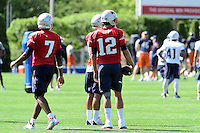 Wednesday, August 17, 2016: New England Patriots quarterback Tom Brady (12), quarterback Jacoby Brissett (7) and quarterback Jimmy Garoppolo (10) watch the action a joint training camp session between the Chicago Bears and the New England Patriots held at Gillette Stadium in Foxborough Massachusetts. Eric Canha/CSM
