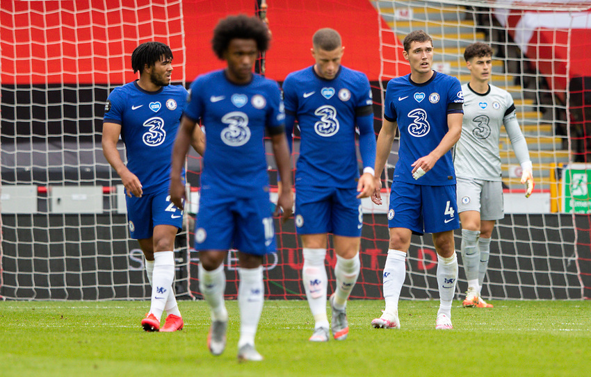 Chelsea players react to going 1-0 down<br /> <br /> Photographer Alex Dodd/CameraSport<br /> <br /> The Premier League - Sheffield United v Chelsea - Saturday 11th July 2020 - Bramall Lane - Sheffield<br /> <br /> World Copyright © 2020 CameraSport. All rights reserved. 43 Linden Ave. Countesthorpe. Leicester. England. LE8 5PG - Tel: +44 (0) 116 277 4147 - admin@camerasport.com - www.camerasport.com