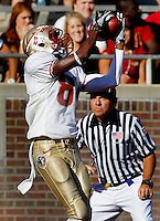 TALLAHASSEE, FLA. 4/16/11-FSUG&G041611 CH-Gold's Kenny Shaw snags a touchdown catch during second half action in the Florida State University Garnet and Gold game Saturday in Tallahassee. Garnet beat Gold 19-17..COLIN HACKLEY PHOTO
