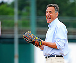 3 July 2011: Vermont Governor Peter Shumlin prepares to throw out the ceremonial first pitch prior to a game between the Vermont Lake Monsters and the Tri-City ValleyCats at Centennial Field in Burlington, Vermont. The Lake Monsters rallied from a 6-3 deficit, scoring 4 runs in the bottom of the 9th, to defeat the ValletCats 7-6 in NY Penn League action. Mandatory Credit: Ed Wolfstein Photo