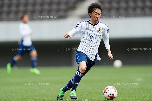Takeaki Harigaya (JPN), <br /> APRIL 18, 2017 - Football / Soccer : <br /> U-20 Japan National team training match <br /> between U-20 - JEF United Chiba <br /> in Chiba, Japan. <br /> (Photo by Yohei Osada/AFLO SPORT)