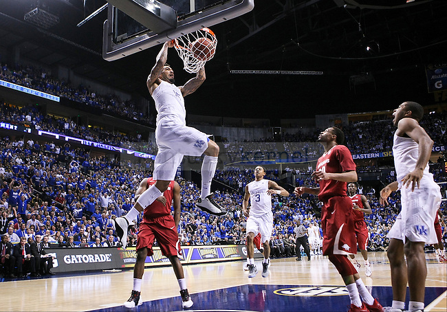 Kentucky center Willie Cauley-Stein dunks the ball during the first half of the Championship game of the SEC tournament against Arkansas in Nashville , Tenn., on Sunday, March 15, 2015. Photo by Jonathan Krueger | Staff