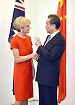 Australian Foreign Minister Julie Bishop (L) meets with Chinese Foreign Minister Wang Yi (R) for the Australia-China Foreign and Strategic Dialogue at Parliament House Canberra, Tuesday Feb 7, 2017. AFP PHOTO/ MARK GRAHAM