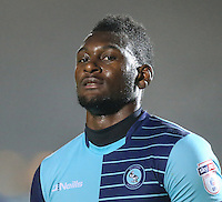 Man of the match and scorer of the first goal, Aaron Pierre of Wycombe Wanderers, after the Sky Bet League 2 match between Wycombe Wanderers and Morecambe at Adams Park, High Wycombe, England on 12 November 2016. Photo by David Horn.