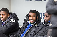 Former Wycombe player Jason Banton (centre) of Notts County is named on the bench  during the Sky Bet League 2 match between Notts County and Wycombe Wanderers at Meadow Lane, Nottingham, England on 28 March 2016. Photo by Andy Rowland.