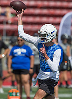 NWA Democrat-Gazette/BEN GOFF @NWABENGOFF<br /> Hunter Loyd, Rogers quarterback, throws the ball in the game vs Glendale (Mo.) Thursday, July 11, 2019, during the Border Battle 7-on-7 Tournament, in partnership with the Pro Football Hall of Fame Scholastic 7v7 series, at Branson (Mo.) High School's Pirates Stadium.