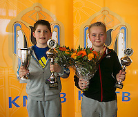 Rotterdam, The Netherlands, 07.03.2014. NOJK ,National Indoor Juniors Championships of 2014, 12and 16 years, Winner boys 12 years Jens Hoogendam (NED) and runner up Daan Hendriks<br /> Photo:Tennisimages/Henk Koster