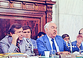 United States Senator Howard Baker (Republican of Tennessee), left, listens as U.S. Senator Sam Ervin (Democrat of North Carolina), Chairman of the U.S. Senate Watergate Committee, right, makes a statement during the hearings investigating the Watergate break-in during the Summer of 1973 in Washington, D.C.<br /> Credit: Arnie Sachs / CNP