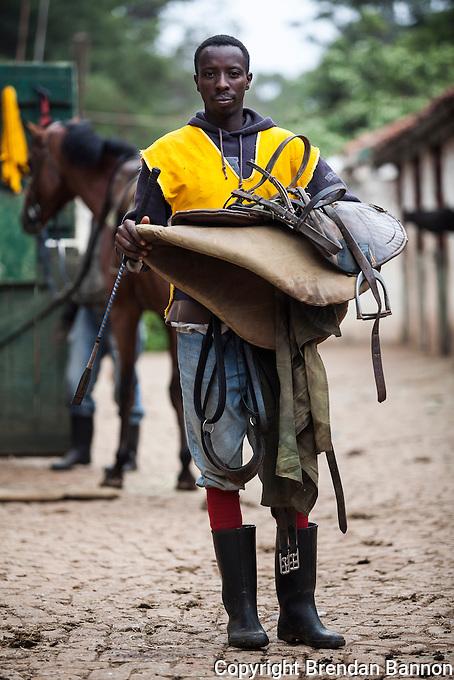 Jockey James Muhindi at Ngong Racecourse in Nairobi, Kenya. March 13, 2013. Photo: Brendan Bannon