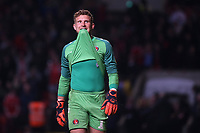 Charlton goalkeeper, Dillon Phillips, looks up at the big screen to watch his penalty save in the shoot-out during Charlton Athletic vs Doncaster Rovers, Sky Bet EFL League 1 Play-Off Football at The Valley on 17th May 2019