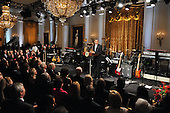 """Washington, D.C. - February 25, 2009 -- United States President Barack Obama makes remarks as he and first lady Michelle Obama host """"Stevie Wonder In Performance at the White House: The Library of Congress Gershwin Prize"""" to showcase an evening of celebration at the White House in honor of musician Stevie Wonder's receipt of the Library of Congress Gershwin Prize for Popular Song in the East Room of the White House in Washington, D.C. on Wednesday, February 25, 2009..Credit: Ron Sachs / Pool via CNP"""