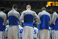 February 7, 2015 - Colorado Springs, Colorado, U.S. -  Air Force Falcons in a timeout during an NCAA basketball game between the University of Wyoming Cowboys and the Air Force Academy Falcons at Clune Arena, U.S. Air Force Academy, Colorado Springs, Colorado.  Air Force soars to a 73-50 win over Wyoming.