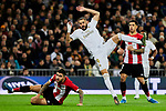 Karim Benzema of Real Madrid and Unai Nunez of Athletic Club during La Liga match between Real Madrid and Athletic Club de Bilbao at Santiago Bernabeu Stadium in Madrid, Spain. December 22, 2019. (ALTERPHOTOS/A. Perez Meca)