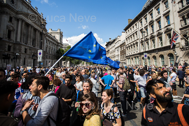 London, 02/07/2016. Today, more than 60 thousand people marched peacefully from Park Lane to Parliament Square to protest against the EU Referendum result which is leading the United Kingdom to the so called &quot;Brexit&quot;, in other words to leave the European Union. Protestors of all ages were present in significant numbers representing all the generations of the British population. On the 23rd of June 2016 the British people voted in the EU Referendum (Turnout 72.2%): 51,9% to leave the EU (17,410,742 Votes) versus 48,1% to remain in the EU (16,141,241 Votes). In the morning of the 24th of June the British Prime Minister David Cameron gave a speech outside 10 Downing Street in which he announced the EU Referendum results and his formal resignation within 3 months. Cameron decision triggered the leadership race in the Conservative Party between the Home Secretary Theresa May MP (backed Remain in the EU Referendum) and the Lord Chancellor and Secretary of State for Justice Michael Gove MP (backed Leave in the EU Referendum). On the 30th of June, the former Mayor of London and major figure in the Leave Campaign, Boris Johnson MP, surprisingly withdrew from the leadership contest. The new leader of the Conservative Party will succeed David Cameron as the new British Prime Minister.<br />