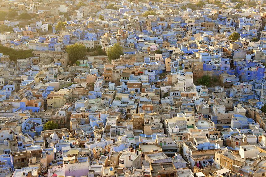 Jodhpur, blue city, viewed from Fort Mehrangarh, Rajastan, India