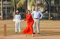 King Philippe & Queen Mathilde of Belgium playing cricket while on a State Visit to India - Mumbai