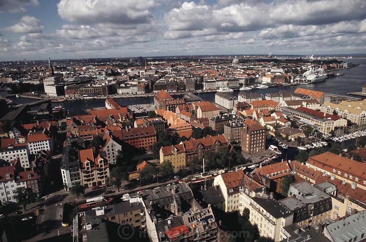 View from Top Steeple of vor Freslers Kirke (church). Copenhagen, Denmark.