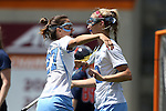 01 May 2016: North Carolina's Carly Davis (12) celebrates her goal with Aly Messinger (27). The University of North Carolina Tar Heels played the Syracuse University Orange at Lane Stadium in Blacksburg, Virginia in the 2016 Atlantic Coast Conference Women's Lacrosse Tournament championship match. North Carolina won 15-14 in overtime.