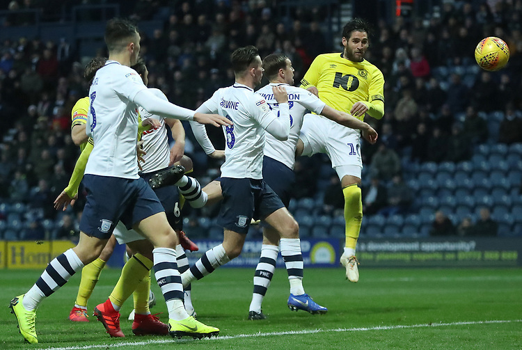Blackburn Rovers' Danny Graham scores his side's first goal  <br /> <br /> Photographer Rachel Holborn/CameraSport<br /> <br /> The EFL Sky Bet Championship - Preston North End v Blackburn Rovers - Saturday 24th November 2018 - Deepdale Stadium - Preston<br /> <br /> World Copyright © 2018 CameraSport. All rights reserved. 43 Linden Ave. Countesthorpe. Leicester. England. LE8 5PG - Tel: +44 (0) 116 277 4147 - admin@camerasport.com - www.camerasport.com