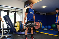 Josh Bayliss of Bath Rugby in the gym. Bath Rugby pre-season training on July 2, 2018 at Farleigh House in Bath, England. Photo by: Patrick Khachfe / Onside Images