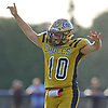 Frank Ragusa #10 of Bethpage reacts after making a catch for a 17-yard touchdown in the third quarter of a Nassau County Conference III varsity football game against Plainedge at Bethpage High School on Saturday, Oct. 21, 2017. Bethpage won by a score of 28-21.