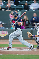 Mauricio Dubon (10) of the Salem Red Sox follows through on his swing against the Winston-Salem Dash at BB&T Ballpark on April 15, 2016 in Winston-Salem, North Carolina.  The Red Sox defeated the Dash 3-2.  (Brian Westerholt/Four Seam Images)