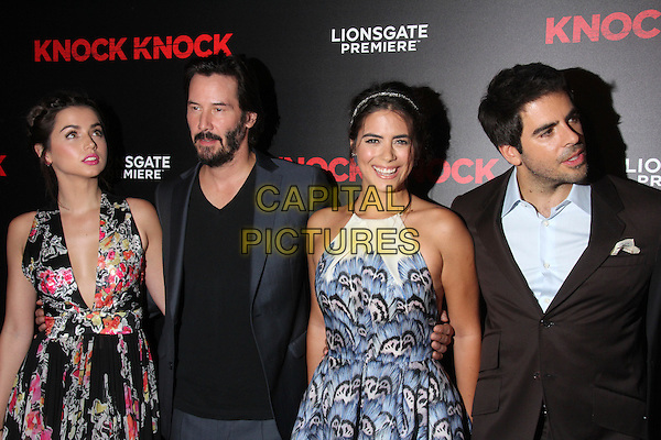 HOLLYWOOD, CA - OCTOBER 7: Ana de Armas, Keanu Reeves, Lorenza Izzo, Eli Roth at the Premiere Of Lionsgate Premiere's 'Knock Knock' at TCL Chinese Theatre on October 7, 2015 in Hollywood, California.   <br /> CAP/MPI//DE<br /> &copy;DE/MPI/Capital Pictures