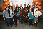 """Jen Bender, Anna Louizos, Robyn Goodman, Jason Moore, Ann Harada, Anika Larson, Jeff Marx with the cast attend the 'Avenue Q"""" 13th Anniversary and 3,QQQ Performance with Bar Mitzvah Party at the New World Stages on January 12, 2017 in New York City."""