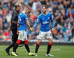14.09.2019 Rangers v Livingston: Andy Halliday commiserates with injured Ryan Kent