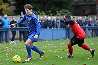 Freddy Moncur of Romford  and Aryton Coley of Coggeshall Town  during Romford vs Coggeshall Town, BetVictor League North Division Football at the Brentwood Centre on 16th November 2019