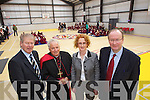 Micheal O'Muircheartaigh who opened the new Sports hall at Moyderwell Primary School on Friday pictured with Bishop Bill Murphy, Moire Quinlan, Principal Moyderwell Primary and Jim Finucane, Chairman of the Board of Management.