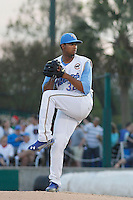 Myrtle Beach Pelicans pitcher Duane Underwood Jr. (32) pitching during a game against the Wilmington Blue Rocks at Ticketreturn.com Field at Pelicans Ballpark on April 09, 2015 in Myrtle Beach, South Carolina. Myrtle Beach defeated Wilmington 9-1. (Robert Gurganus/Four Seam Images)