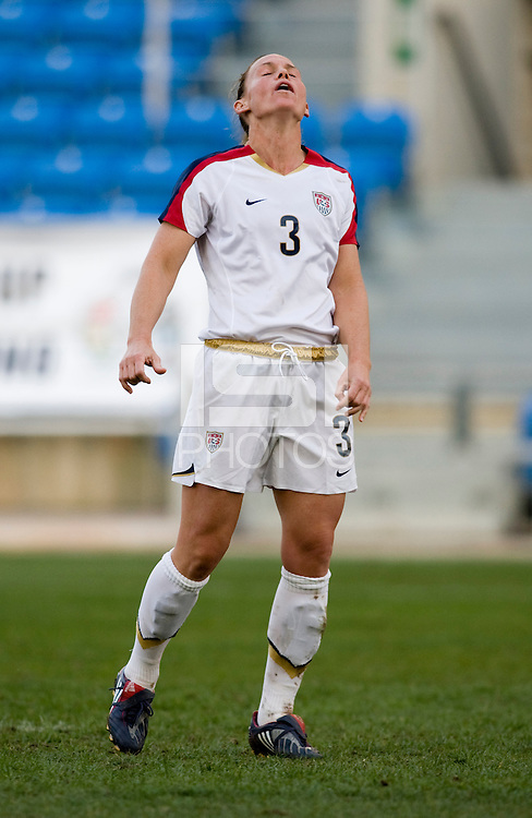 USWNT captain (3) Christie Rampone reacts to a missed penalty kick during the Algarve Cup final at the Estadio Algarve in Faro, Portual.  The USWNT lost to Sweden on penalty kicks after it was tied in regulation at 1-1.