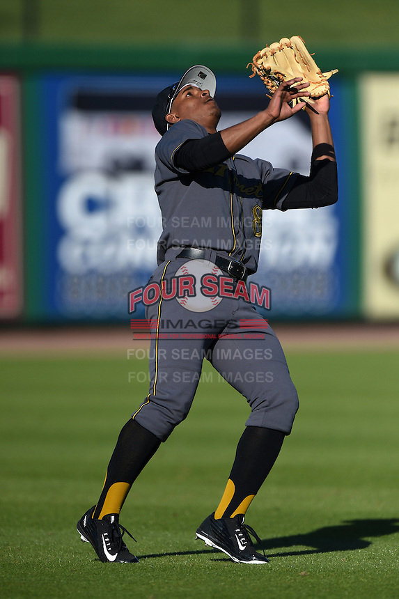 Alabama State Hornets outfielder Joseph Estrada (8) catches a pop up during a game against the Cal State Fullerton Titans on February 14, 2015 at Bright House Field in Clearwater, Florida.  Alabama State defeated Cal State Fullerton 3-2.  (Mike Janes/Four Seam Images)