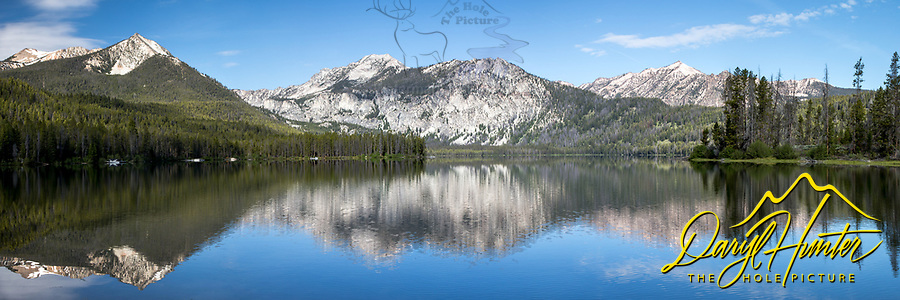 Petit Lake Panorama.  Petit Lake is one of several lakes at the foot of Idaho's beautiful Sawtooth Range of Central Idaho.