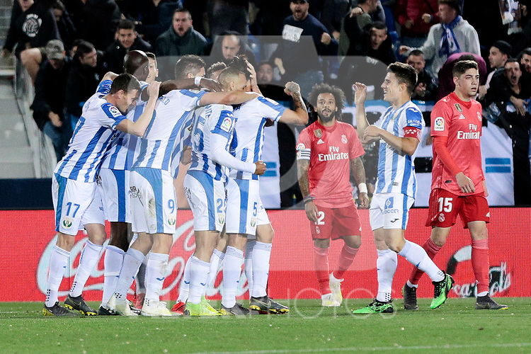 CD Leganes's players celebrate goal during La Liga match between CD Leganes and Real Madrid at Butarque Stadium in Leganes, Spain.April 15, 2019. (ALTERPHOTOS/A. Perez Meca)