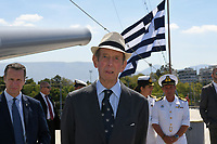 Pictured: Prince Edward. Saturday 18 May 2019<br /> Re: Prince Edward, Duke of Kent visits cruiser Georgios Averof at Palaio Faliro, Athens, Greece
