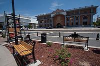 Plaza Bicentenario  y edificio del poder Judicial de la federación en la colonia Centenario de Hermosillo, Sonora, Mexico