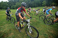 NWA Democrat-Gazette/MICHAEL WOODS &bull; @NWAMICHAELW<br /> Photos from the 19 and under  Mountain Bike Championships at Slaugther Pen in Bentonville Saturday August 8, 2015. The event sponsored by the Bentonville Parks and Recreation Department,  is an exhibition this year as the new National Interscholastic Cycling Association works to set up its local league. It will be a competitive championship event in the future for ages 6-19.