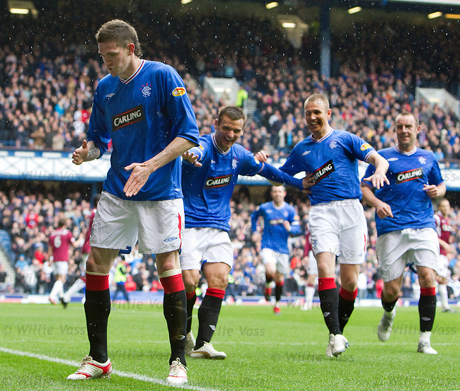 Kyle Lafferty celebrates his goal with a robot dance as McCulloch, Miller and Boyd are in stitches laughing