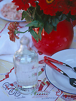 A detail of a red and white themed table laid for an informal meal