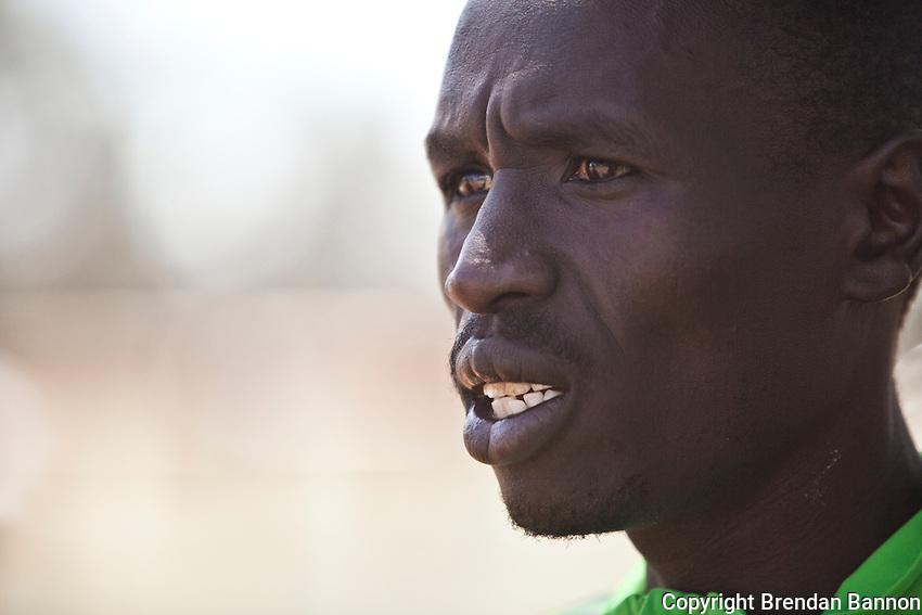Emmanuel Mutai, winner of 2011 London Marathon, photographed after a workout on the  dirt track at Moi University in Eldoret, Kenya.