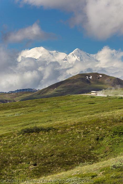 Tour bus on the Park road in Denali National Park, Alaska.