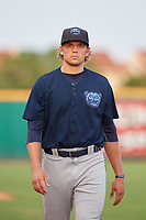 Mobile BayBears pitcher Isaac Mattson (12) after a Southern League game against the Mobile BayBears on July 25, 2019 at Blue Wahoos Stadium in Pensacola, Florida.  Pensacola defeated Mobile 2-1 in the first game of a doubleheader.  (Mike Janes/Four Seam Images)
