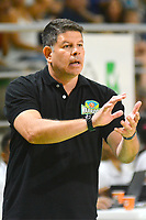 BARRANQUILLA - COLOMBIA. 16-11-2019: Jaime Ortiz técnico de Warriors gesticula durante partido por la semifinal entre Titanes de Barranquilla y Warriors de San Andrés como parte de la Liga Profesional de Baloncesto de Colombia 2019 realizado en el Coliseo Elías Chewing Barranquilla, Colombia. / Jaime Ortiz coach of Warriors gestures during semifinal match between Titanes de Barranquilla and Warriors de San Andres as part of Professional Basketball League of Colombia 2019 played at Elias Chewing coliseum in Barranquilla, Colombia. Photo: VizzorImage / Alfonso Cervantes / Cont
