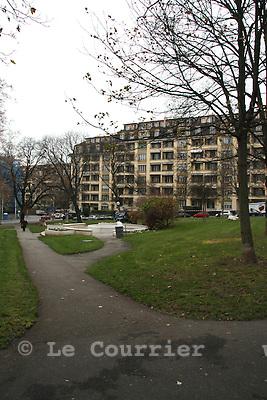 Genève, le  .2010.Plateau de Champel, futur emplacement d'une gare de la CEVA..© Emilie Berra / Le Courrier